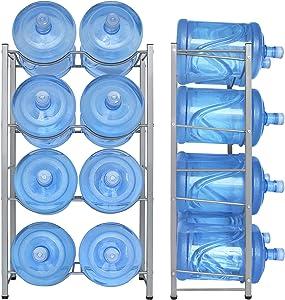 8-Tray Water Jug Rack, Storage 5 Gallon Water Cooler Bottle Holder Stand, 4-Tier Heavy Duty Carbon Steel 5 Gal Water Bottle Organizer for Home, Office, Kitchen, Warehouse, Dark Silver