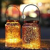 Hanging Solar Lights Outdoor - 2 Pack Bronze Mercury Glass Jars Indoor Outdoor Table Lamps for Patio Garden Lawn Wall Decor