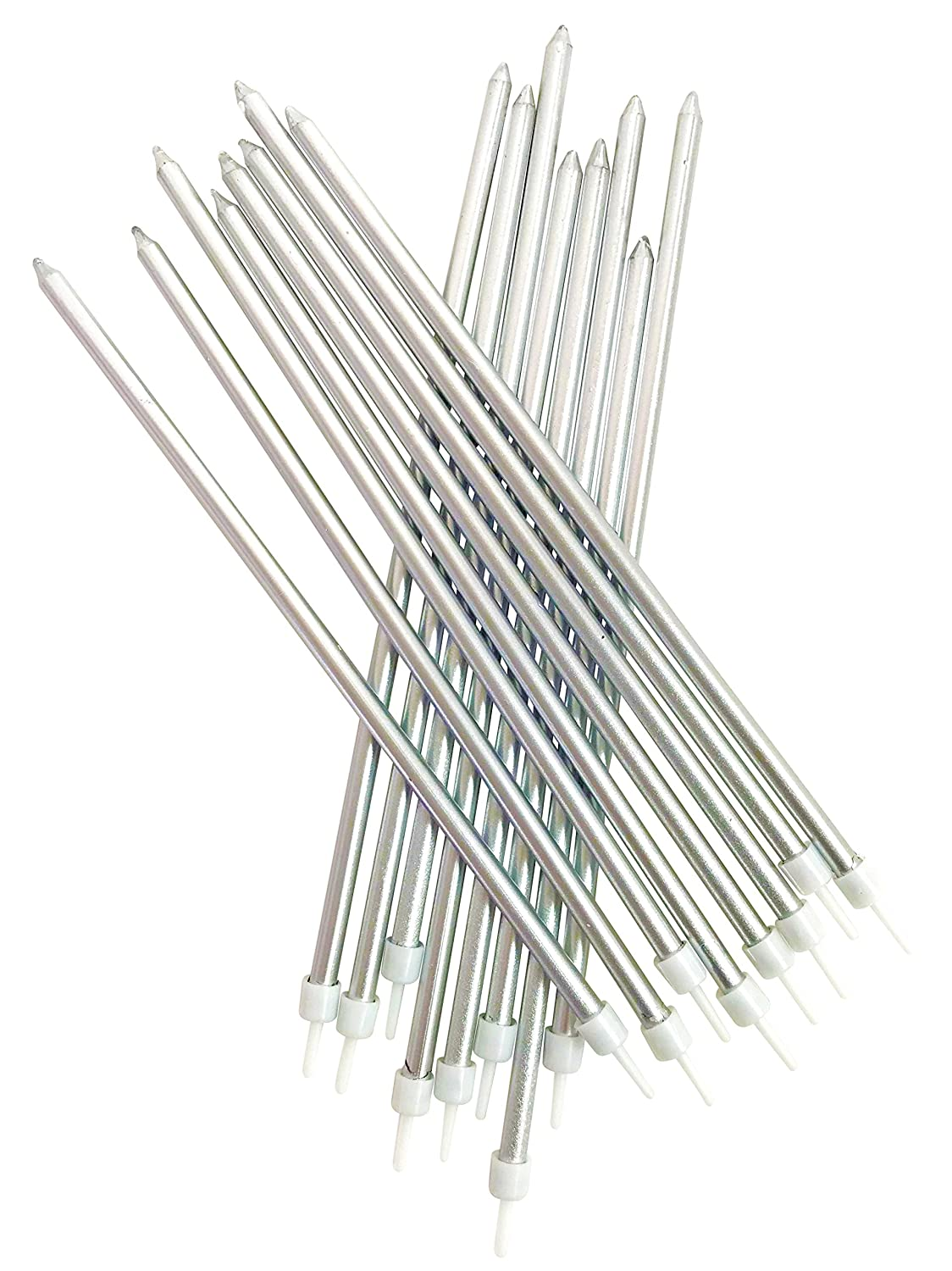 tall silver birthday cake candles 16 per pack 18cm
