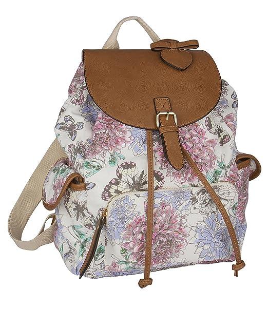 Six Trend Grosser Weisser Stoff Canvas Rucksack Damen Handtasche Day