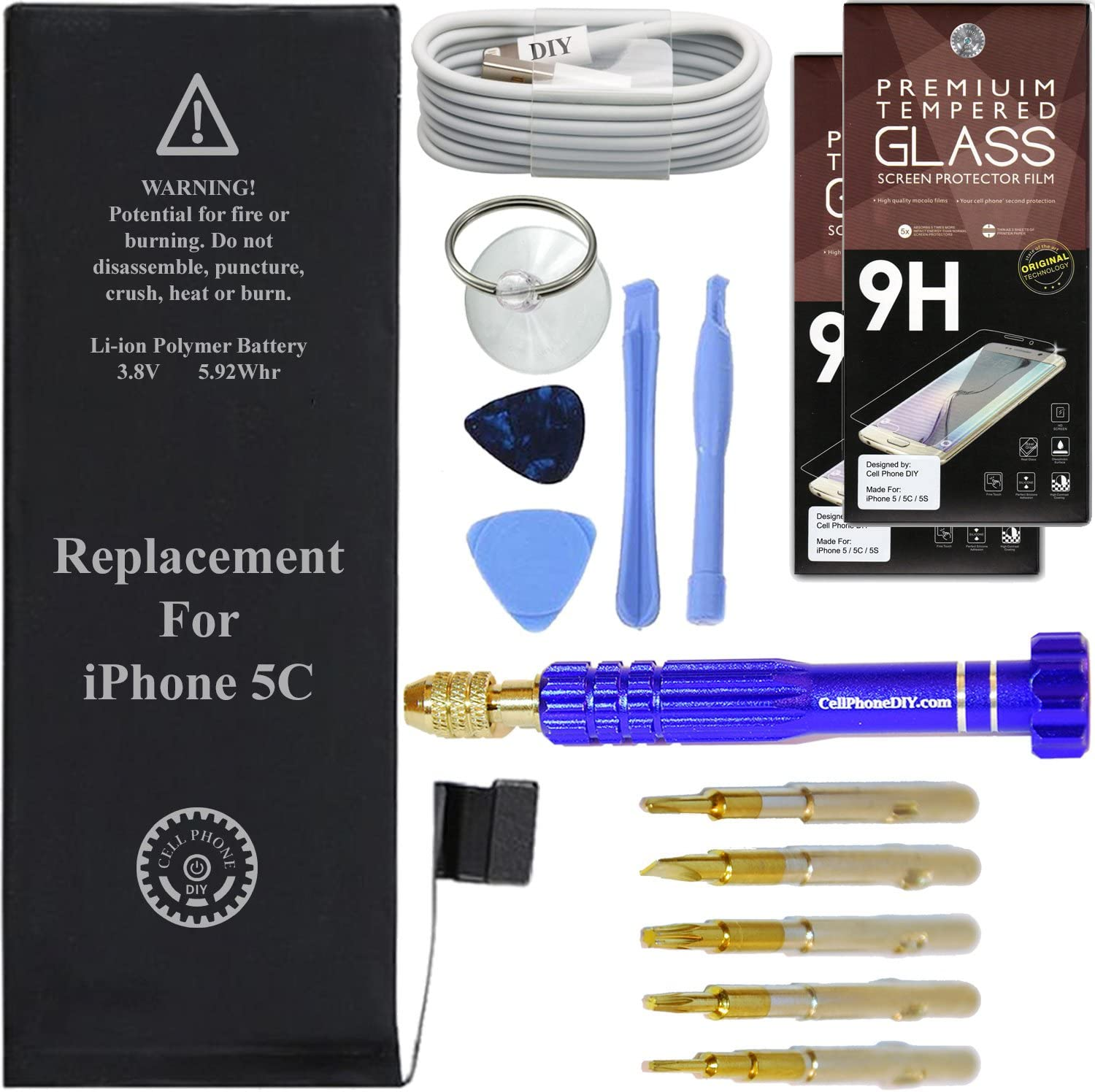 Cell Phone DIY Battery Replacement Kit Compatible with iPhone 5C Complete with Tools and Protectors