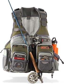 Anglatech chaleco de pesca con mosca (para trucha aparejos de ...