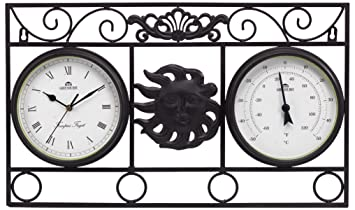 Delicieux Greenhurst Outdoor Garden Wall Frame Sun Clock And Thermometer In Antique  Bronze Finish