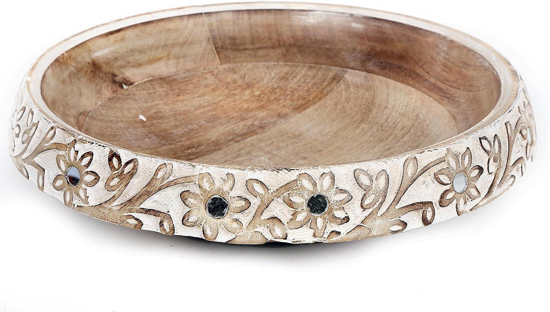 Limewashed Fleur en bois sculpt/é d/écoratif Bol avec miroir D/étails