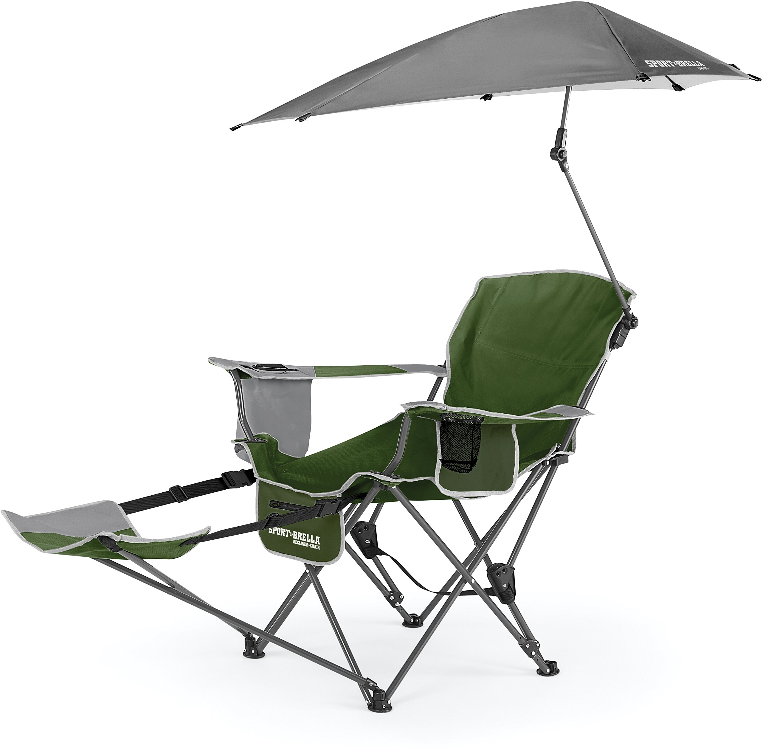 Sport-Brella 3-Position Recliner Chair with Removable Umbrella and Footrest, Moss Green