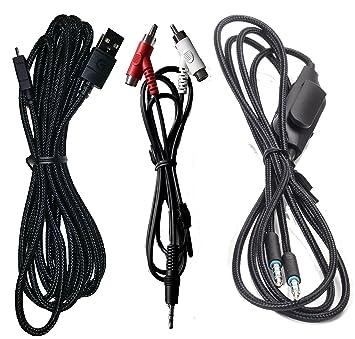 Geflochtenes USB Ladekabel Cinch auf 3,5 mm Kabel und 3,5 mm Kabel f/ür das Logitech Gaming Headset G933