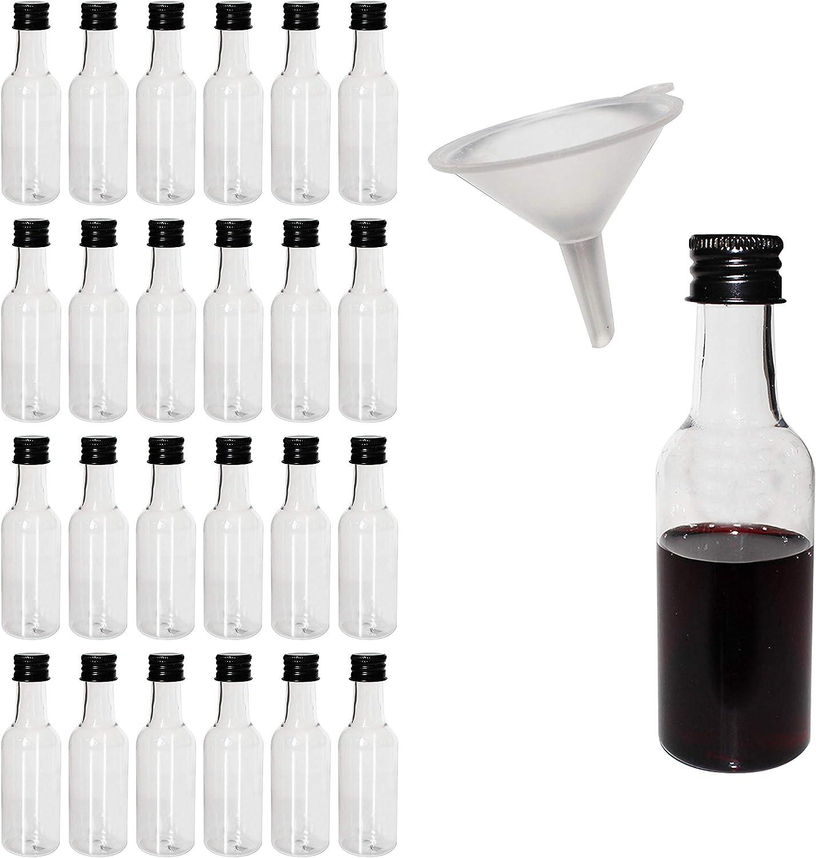 BELLE VOUS Mini Botellas de plástico 24 Piezas - Botellas vacias para Licor 55ml-plastico Bottles con Tapa Negra y Embudo de - Excelentes para Bodas, Regalos, Artes, Pinturas y Eventos