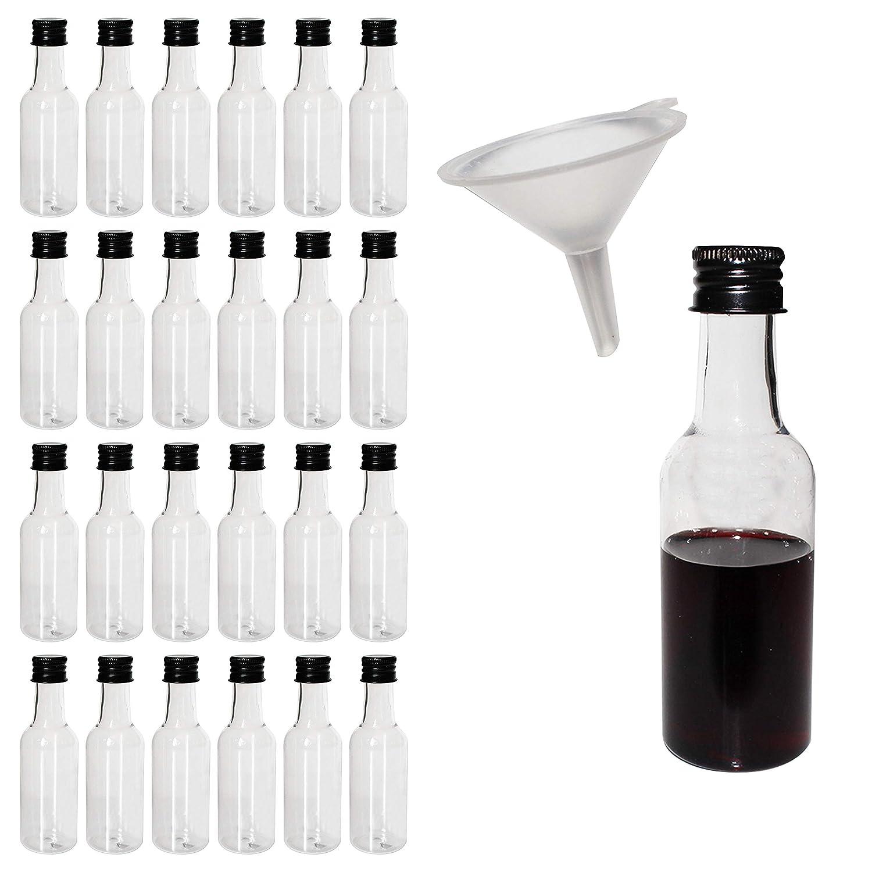 Belle Vous 24 pcs Liquor Bottles - Mini 55ml Plastic Empty Liquor Bottles with Black Cap - Bonus liquid Funnel for pouring liquid in bottles - Great For Weddings, Party Favors, Arts, Paints and Events