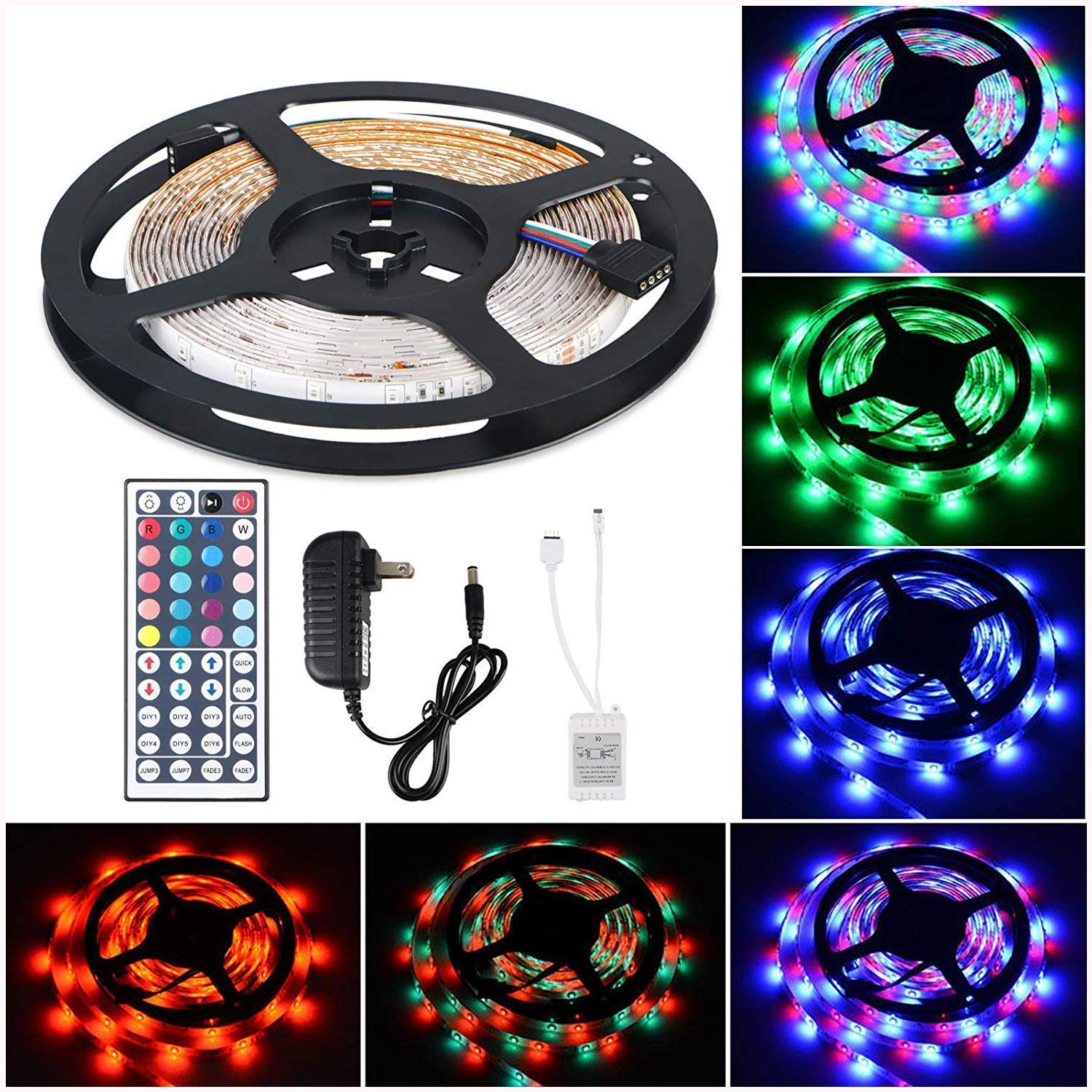 LinkStyle Flexible LED Strip Light Kit 16.4Ft LED Rope Lights 300 LED Tape Light, Color Changing RGB LED Strip Lights & 44Key Remote Controller and 12V Power Supply for DIY Bedroom Home Bar Party by LinkStyle