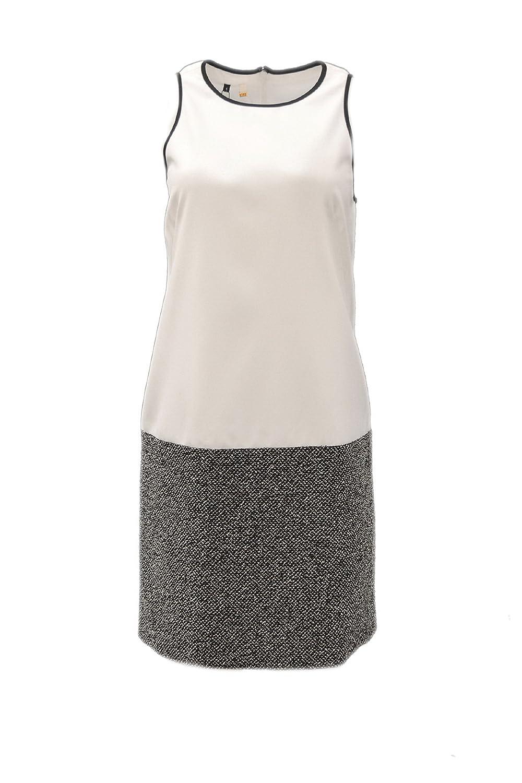 4 COLLECTIVE Womens Solid Tweed Sleeveless Combo Dress Sz 2 BlackWhite 140905F