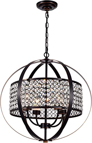 Warehouse of Tiffany RL8322ORB/RD Elizabeth Oil Rubbed Bronze 4-Light Globe Crystal Shade Pendant
