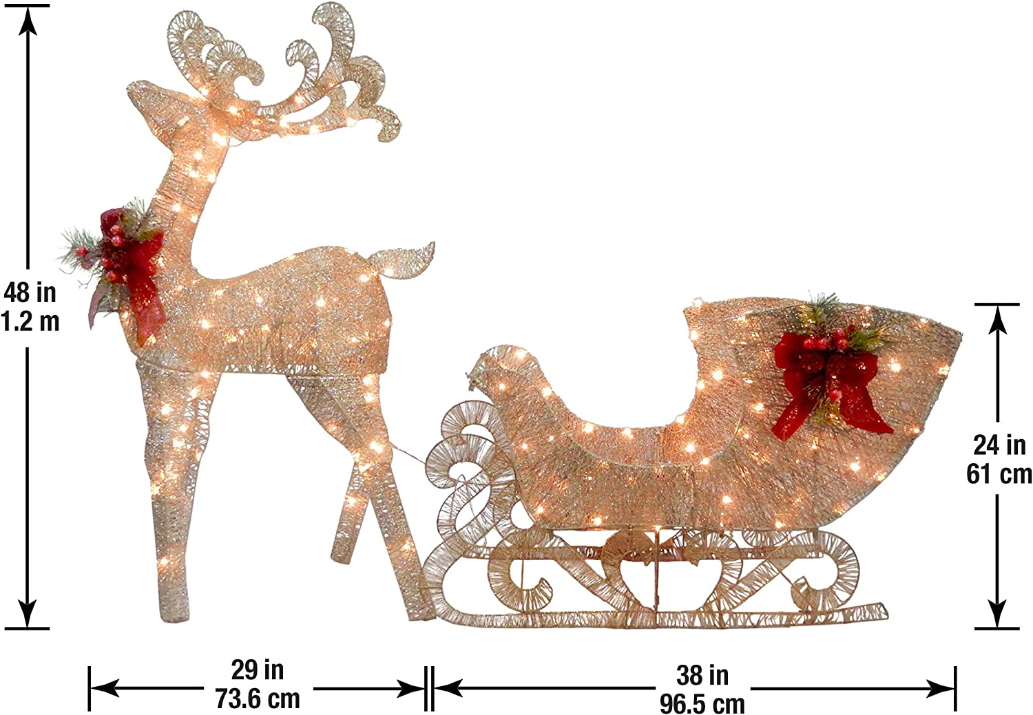 Christmas Santa Sleigh Reindeer Decoration  from images-na.ssl-images-amazon.com
