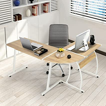 GreenForest Office Desk L Shape Corner Computer PC Table Workstation  3 Piece For Home