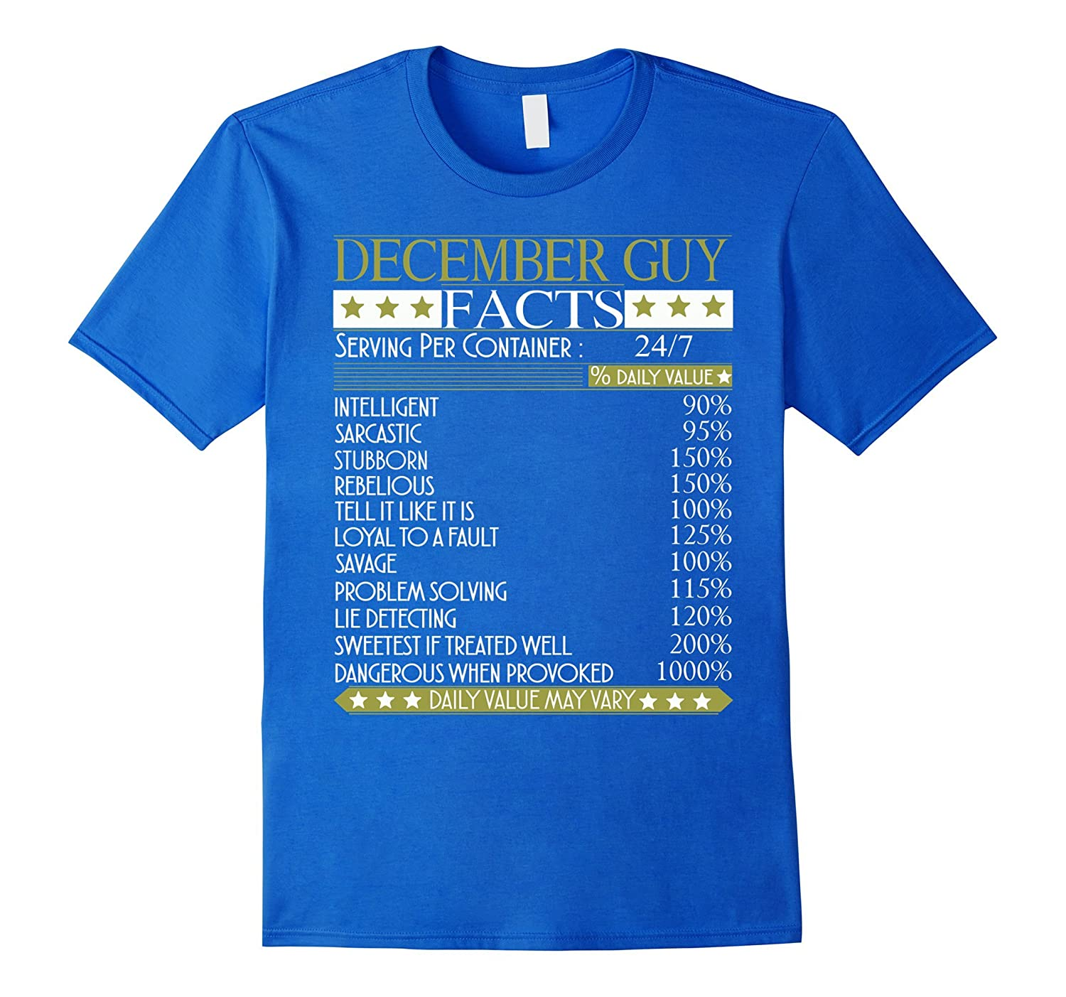 December Guy Facts T Shirt Funny Birthday Gift For Guys ANZ