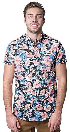 a2555a03 Brooklyn Athletics Men's Hawaiian Aloha Shirt Vintage Casual Button Down Tee,  Black/Pink Floral