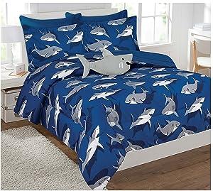 Full Size 8pc Comforter Set for Boys Shark Light Blue Grey New