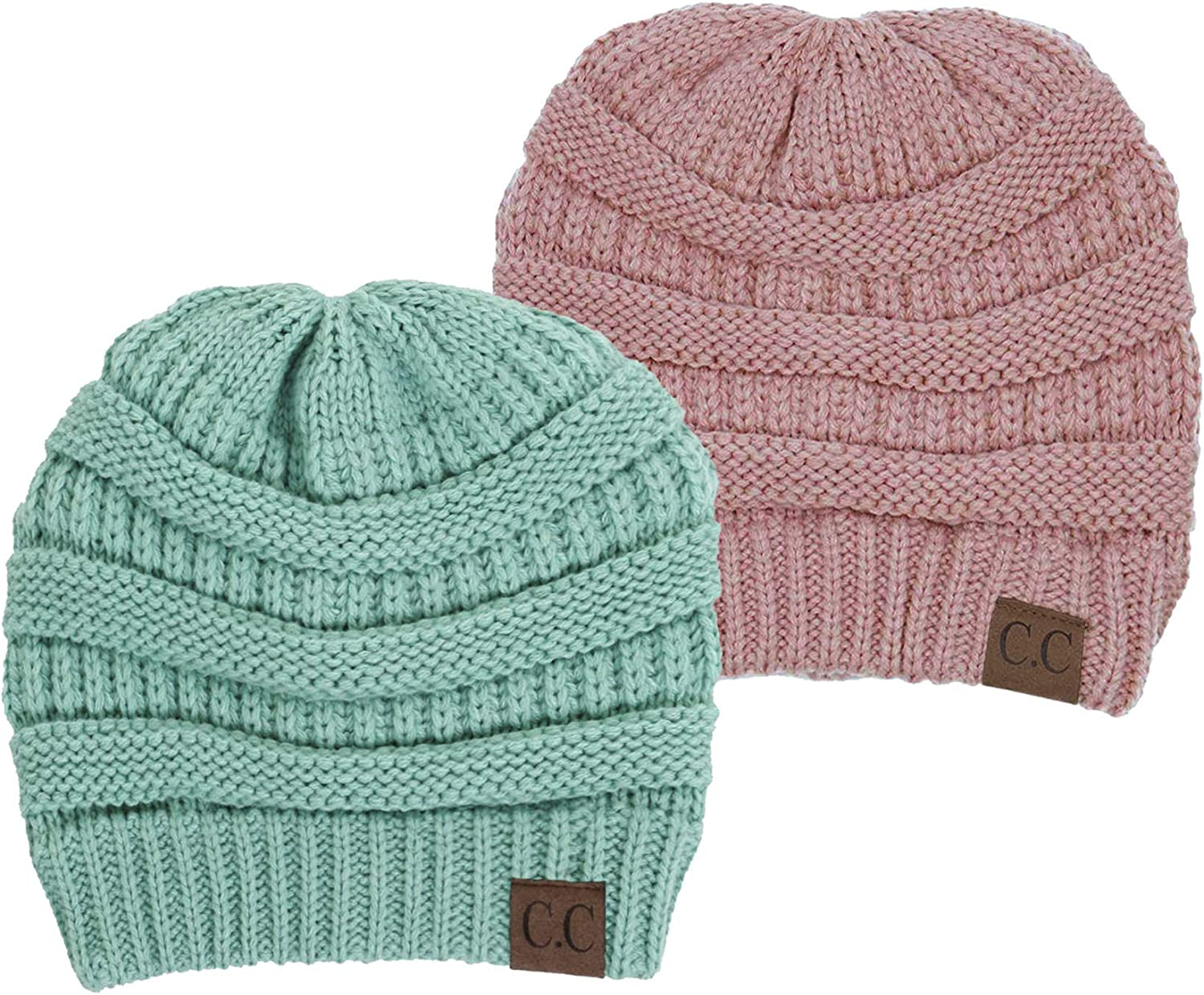 Funky Junque Solid Ribbed Beanie Soft Stretch Cable Knit Slouchy Hat Warm Skull Cap 2 Pack Bundle