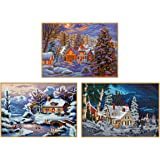 3 Pack 5D DIY Diamond Paintings by Number Kits, Full Drill Winter Snow Scenes Diamond Embroidery Dotz Picture Art Craft…