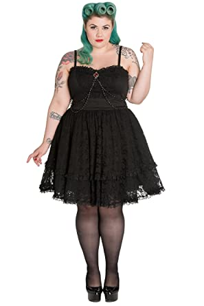 9dd3909a8cf Spin Doctor Plus Size Black Gothic Lace Silver Brooch Vampire Zylphia Mini  Dress - Black -  Amazon.co.uk  Clothing