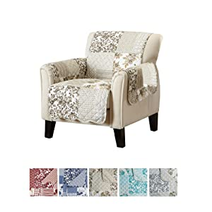"Great Bay Home Patchwork Scalloped Printed Furniture Protector. Stain Resistant Chair Cover. (24"" Chair, Taupe)"