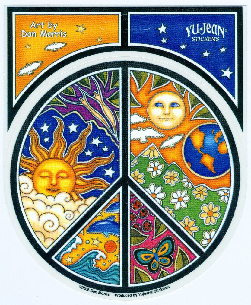 Dan Morris - #1 World Famous, Celestial PEACE Symbol Window STICKER ETIQUETA Decal 4.75' x 4.75' Vinyl Die-Cut - UV Weather Resistant, Extra Long Lasting Celestial PEACE Symbol Window STICKER ETIQUETA Decal 4.75 x 4.75 Vinyl Die-Cut - UV Weather Resistant