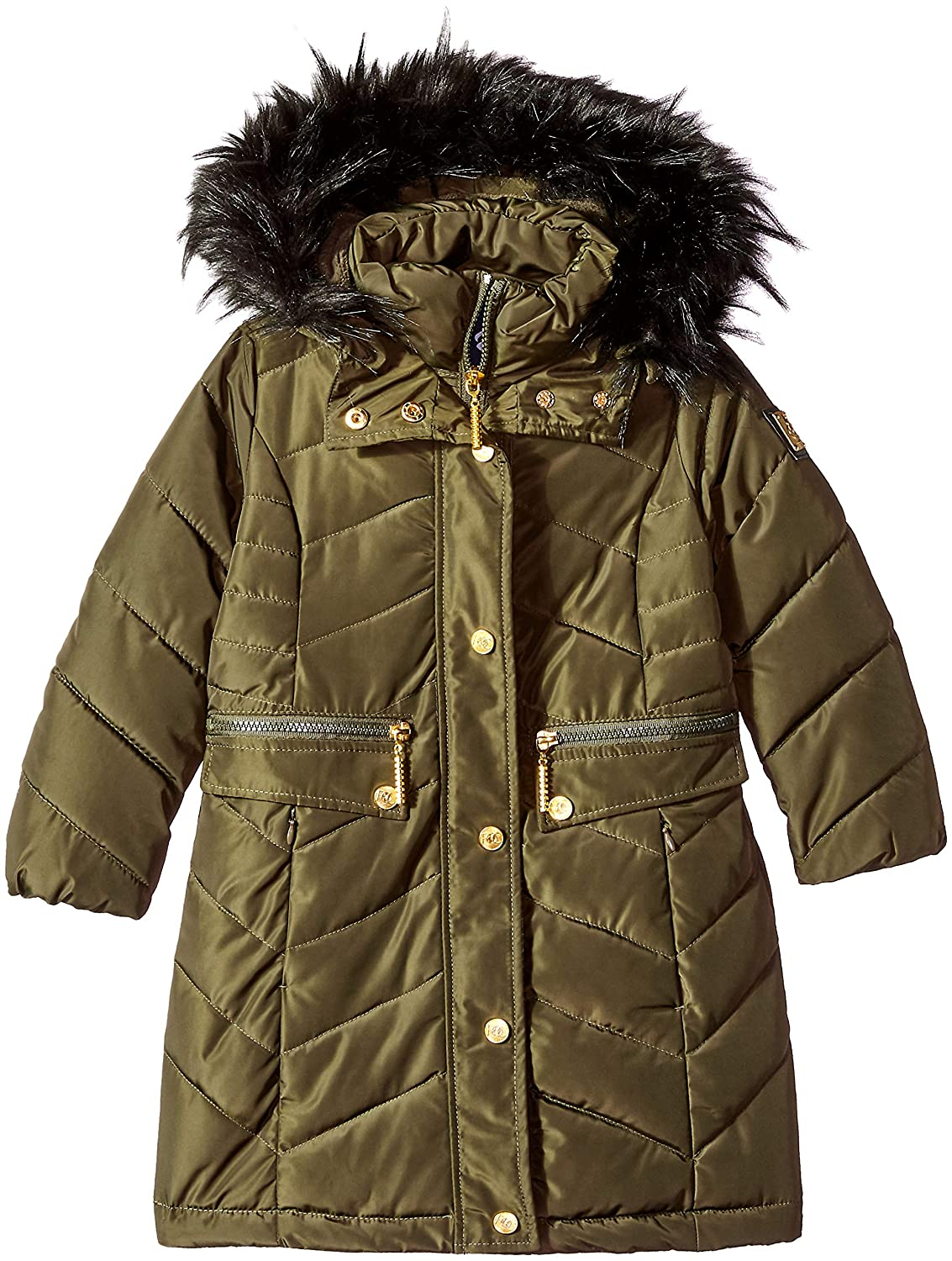 Rocawear Girls' Chevron Quilted Long Bubble Jacket O_R505H