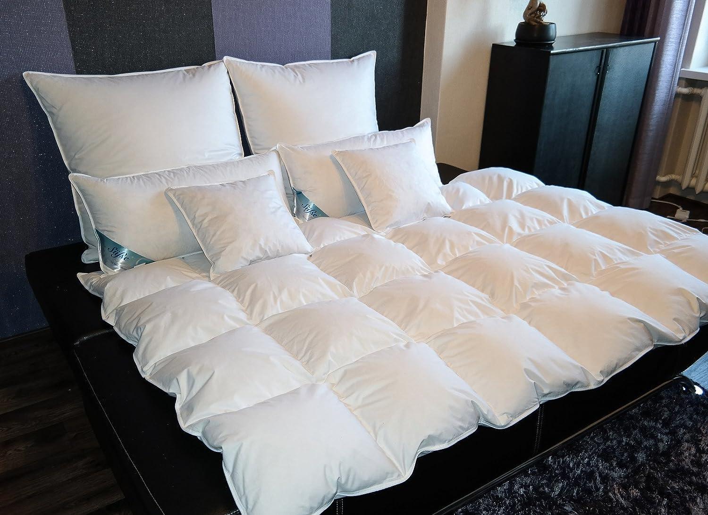 TM MAXX Kasetten Federdecke Ganzjahresdecke Bettdecke Größe und Füllung zur Auswahl (200x220cm, 1800g)
