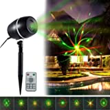 Holiday Galaxy Lights Projector, Popstar Outdoor Star Motion Shower Waterproof LED Red and Green Slide Show Magic Fairy Projection Lighting for Halloween Outside House Holidays Xmas Decoration
