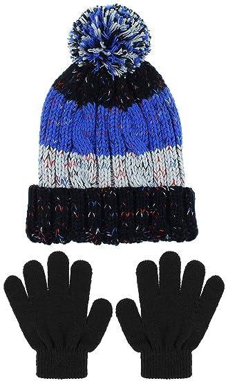 Capelli New York Boys Knit Cuff Hat and Magic Glove Set Black Combo Small 3acde1f947b7