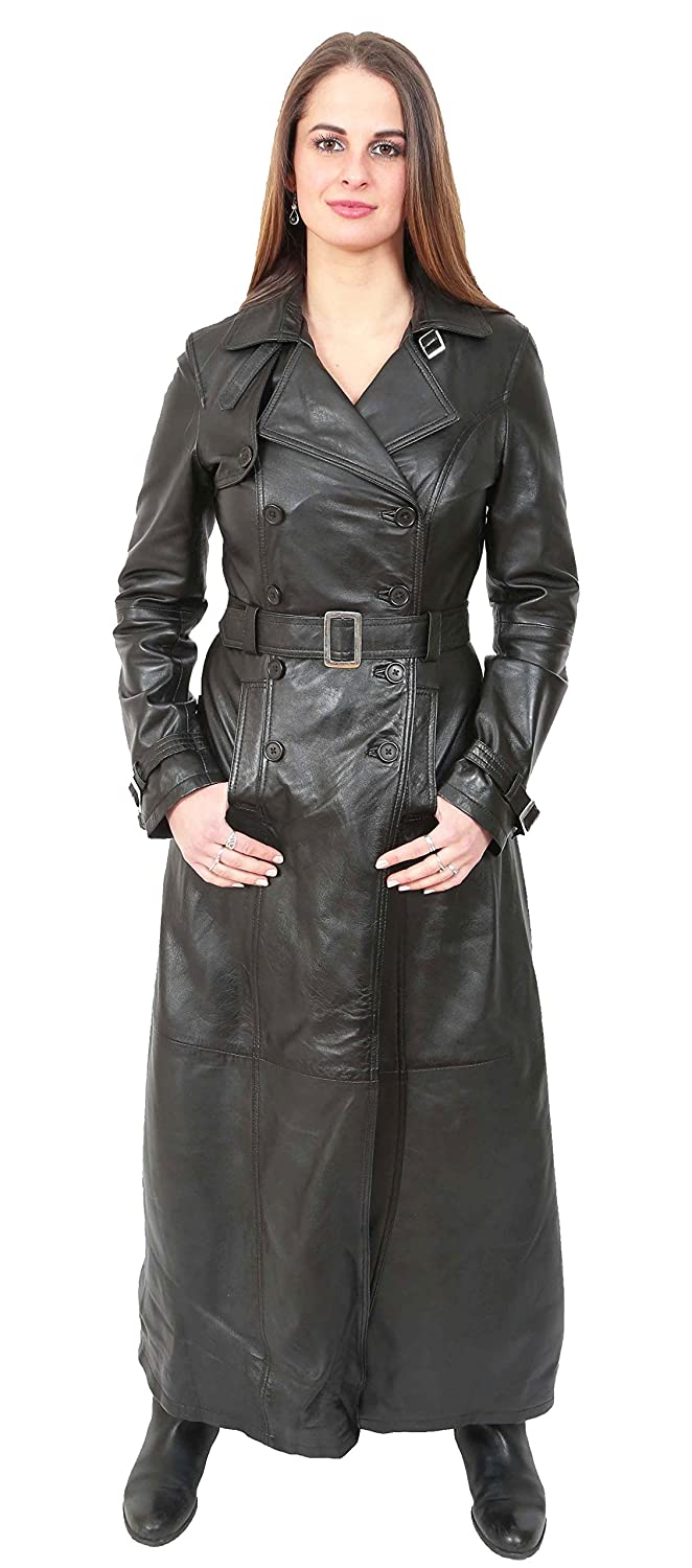 a6494edc5 Ladies Double Breasted Full Length Trench Real Leather Long Coat Liv ...