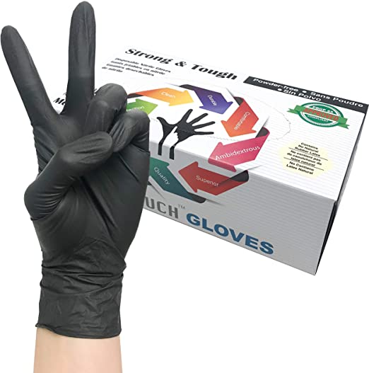 Heavy Duty Nitrile Gloves, Infi-Touch Strong & Tough, High Chemical Resistant, Disposable Gloves, Powder-Free, Non Sterile, 100 Gloves (X-Large)