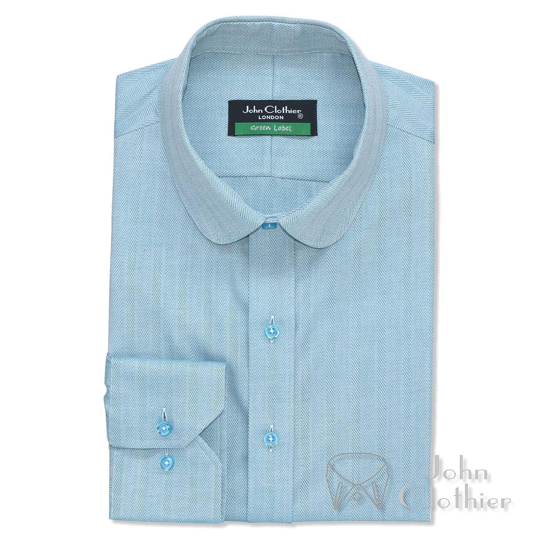 WhitePilotShirts Round Collar Peaky Binders Mens Shirt Sea Blue Herringbone 100/% Cotton Penny Collar Gents 100-26
