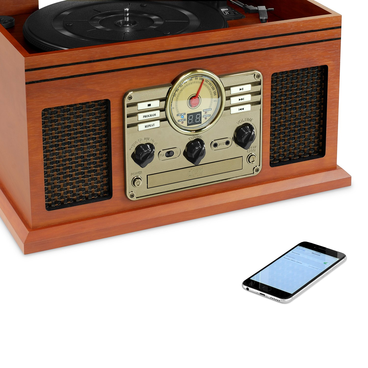 Graphite Victrola Classic Wood 6-in-1 Bluetooth Turntable Entertainment Center