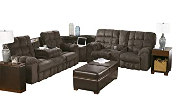Ashley Furniture Signature Design - Acieona 3-Piece Sectional - Reclining  Sofa with Drop-down Table with Wedge & Double Reclining Loveseat with ...