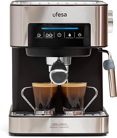 Ufesa CE7255 Cafetera Expresso y Capuccino con Panel Táctil Digital, Vaporizador Orientable, 20, 2 Modos: café Molido o Monodosis, Filtros Bar Cream, Función Calienta Tazas, 850 W, 2 Cups, Negro: Amazon.es: Hogar