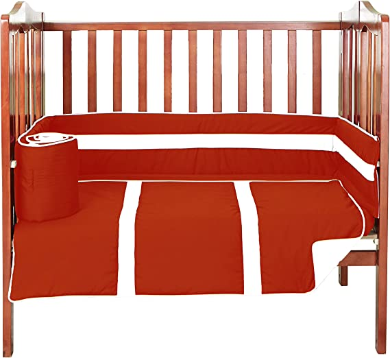 Brown//Orange 520pac-brown//orange Baby Doll Solid Bedding Stripe 3 PieceMini Crib//Port-a-Crib Bedding Set