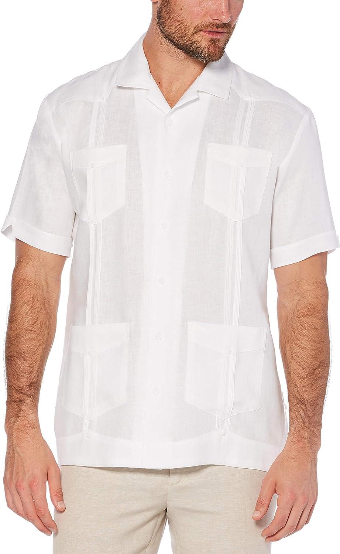 Cubavera Mens Short Sleeve 100/% Linen Cross-Dyed Button-Down Shirt with Pocket