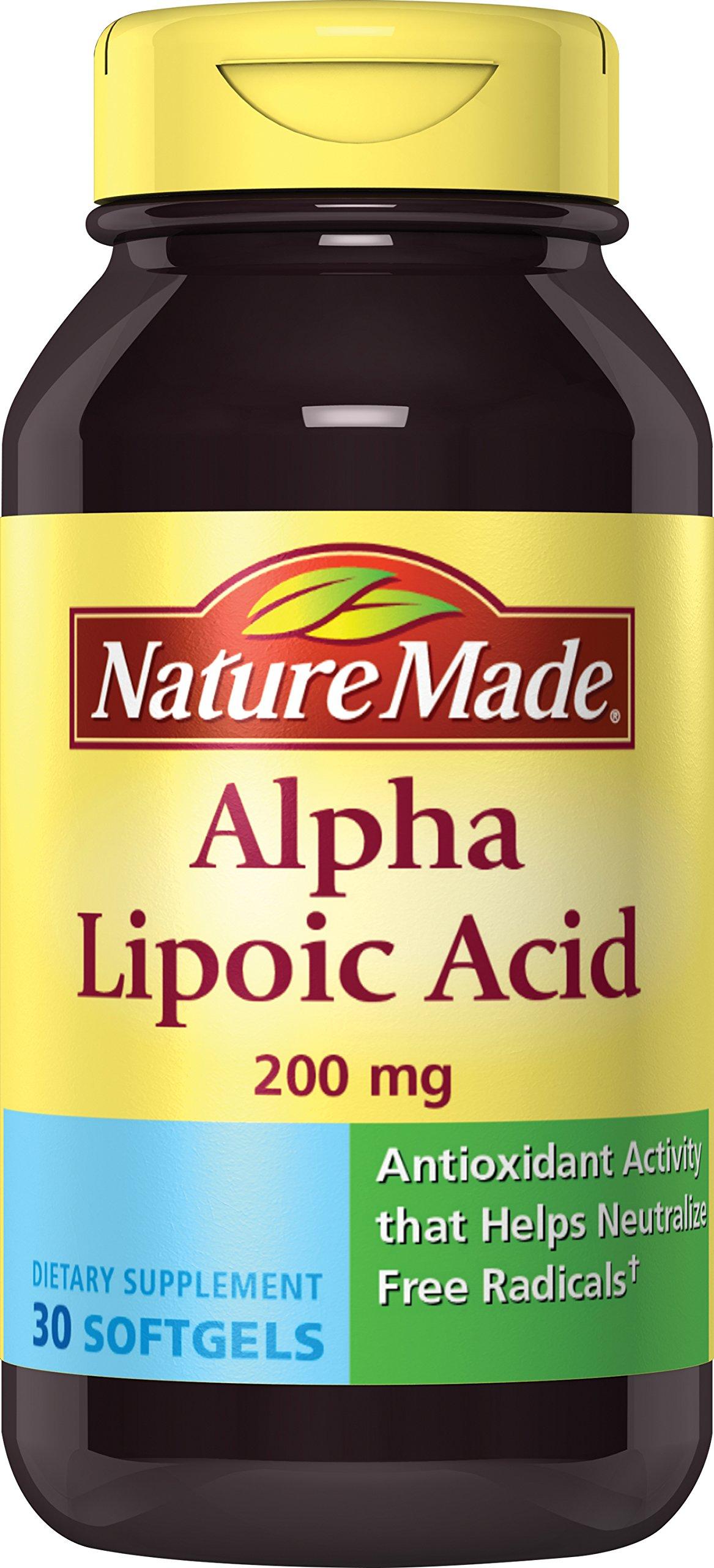 Nature Made Alpha Lipoic Acid (Antioxidant) 200 mg. Softgels 30 Ct