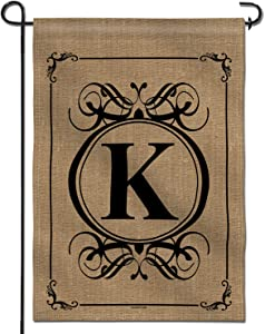 Anley Classic Monogram Letter K Garden Flag, Double Sided Family Last Name Initial Yard Flags - Personalized Welcome Home Decor - Weather Resistant & Double Stitched - 18 x 12.5 Inch