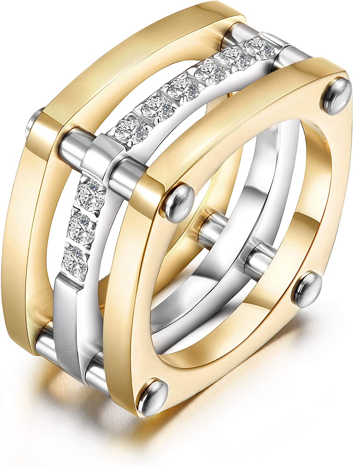 CIUNOFOR Gold Statement Rings for Women Girl Fashion Chunky Diamond CZ Cocktail Rings Wide Bands Parallel Bar Ring