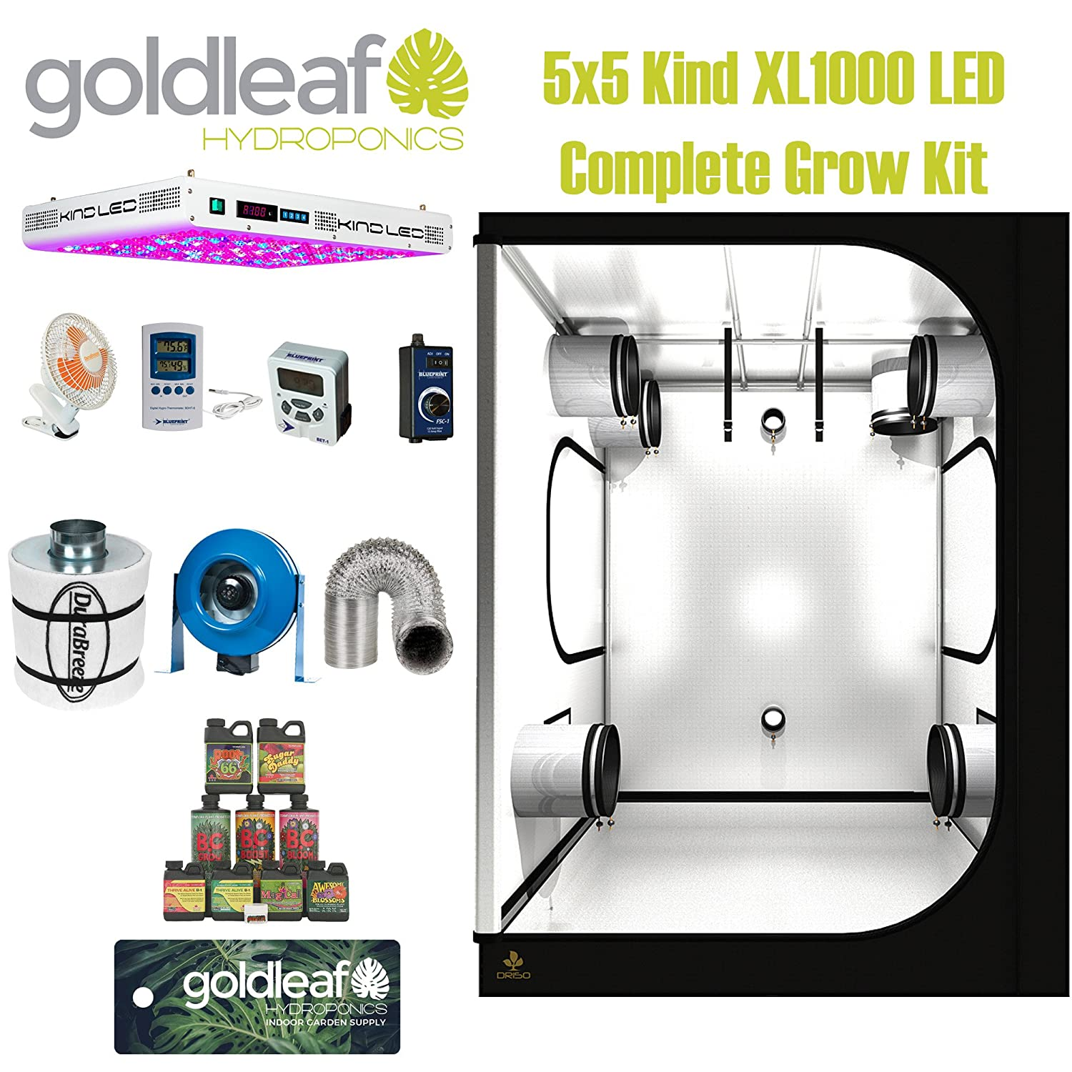 KIND LED XL1000 LED Complete 5x5 Grow Tent Kit with carbon filter and duct fan