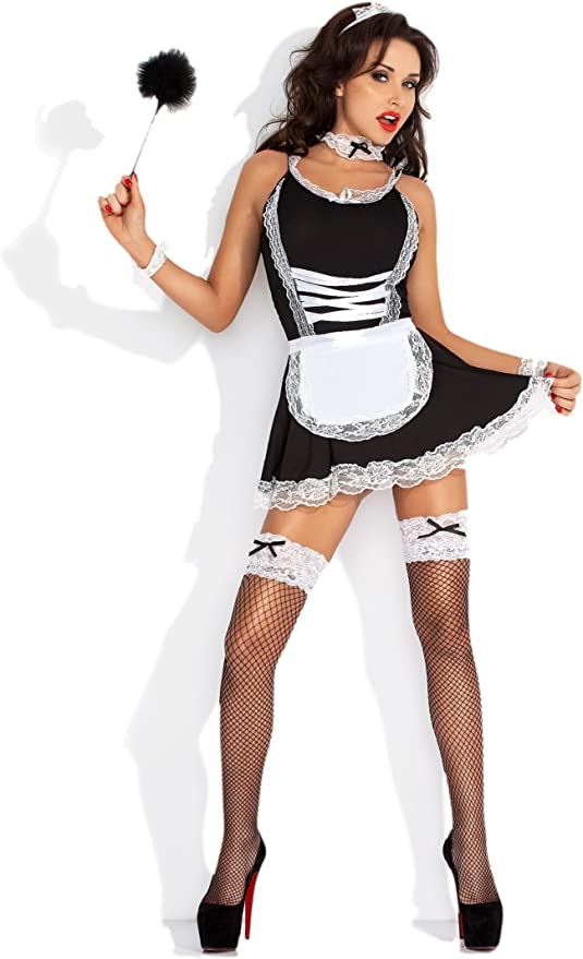 Dienstmädchen Kostümset Zimmermädchen Accessoires 4-teilig Hausmädchen Putzfrau