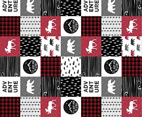 Camping fabric happy camper 90 wholecloth quilt top lumberjack collection