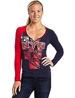 NHL New York Rangers Split Neck Long Sleeve Top Women's