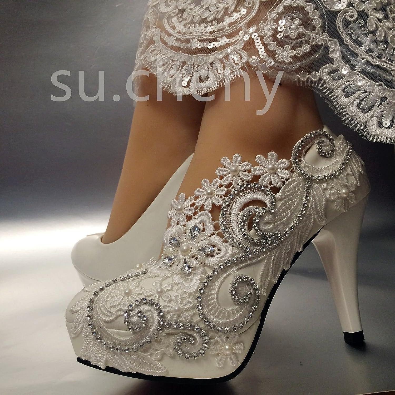 JINGXINSTORE Weißes Spitze Licht Spitze Weißes Kristall Hochzeit Schuhe Braut Heels Pumps Weiß 77168a