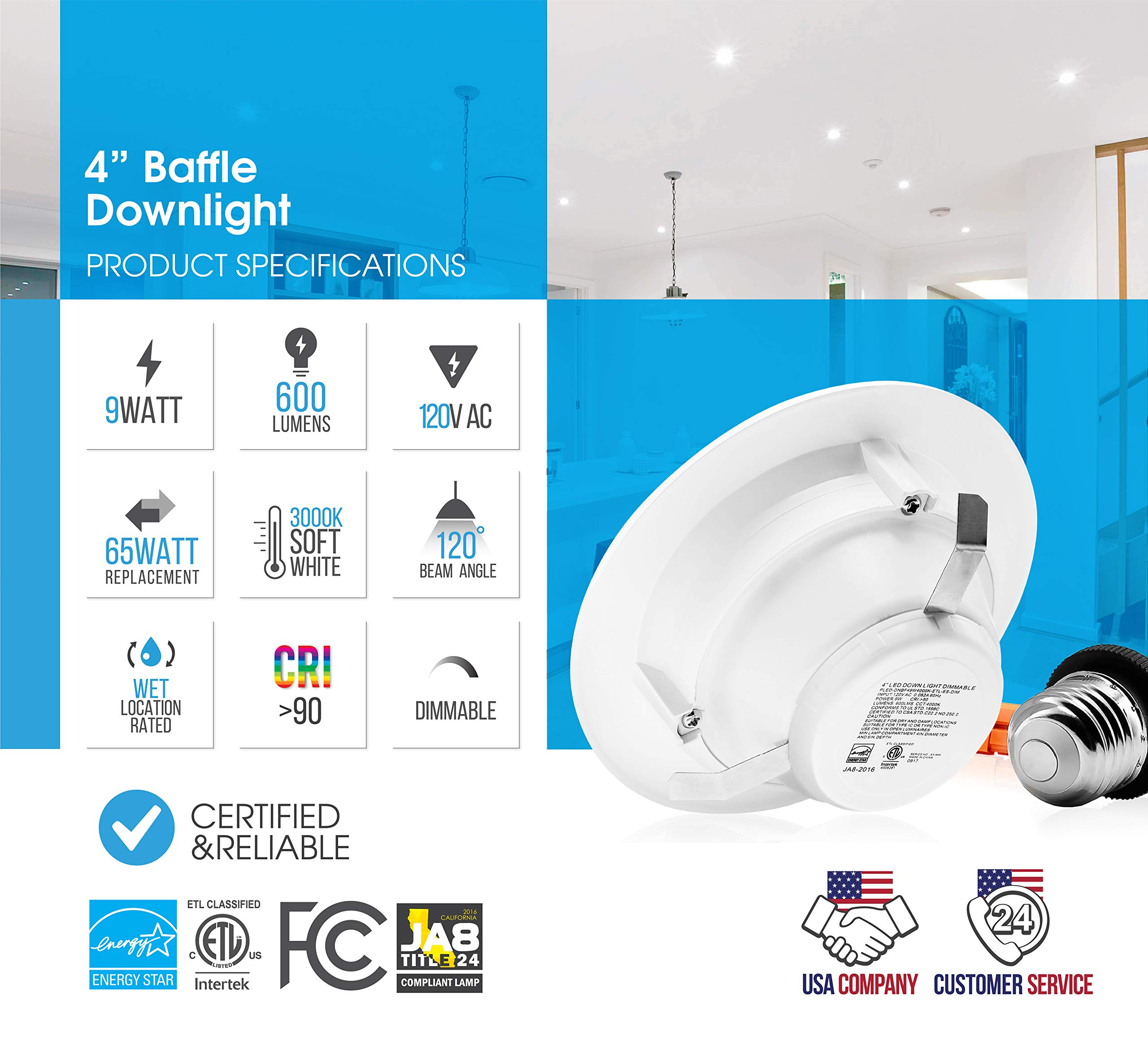 Parmida (12 Pack) 4'' inch Dimmable LED Downlight, 9W (65W Replacement), Baffle Design, 3000K (Soft White), 600lm, Energy Star & ETL-Listed, Retrofit LED Recessed Lighting Fixture, LED Trim by Parmida LED Technologies (Image #3)