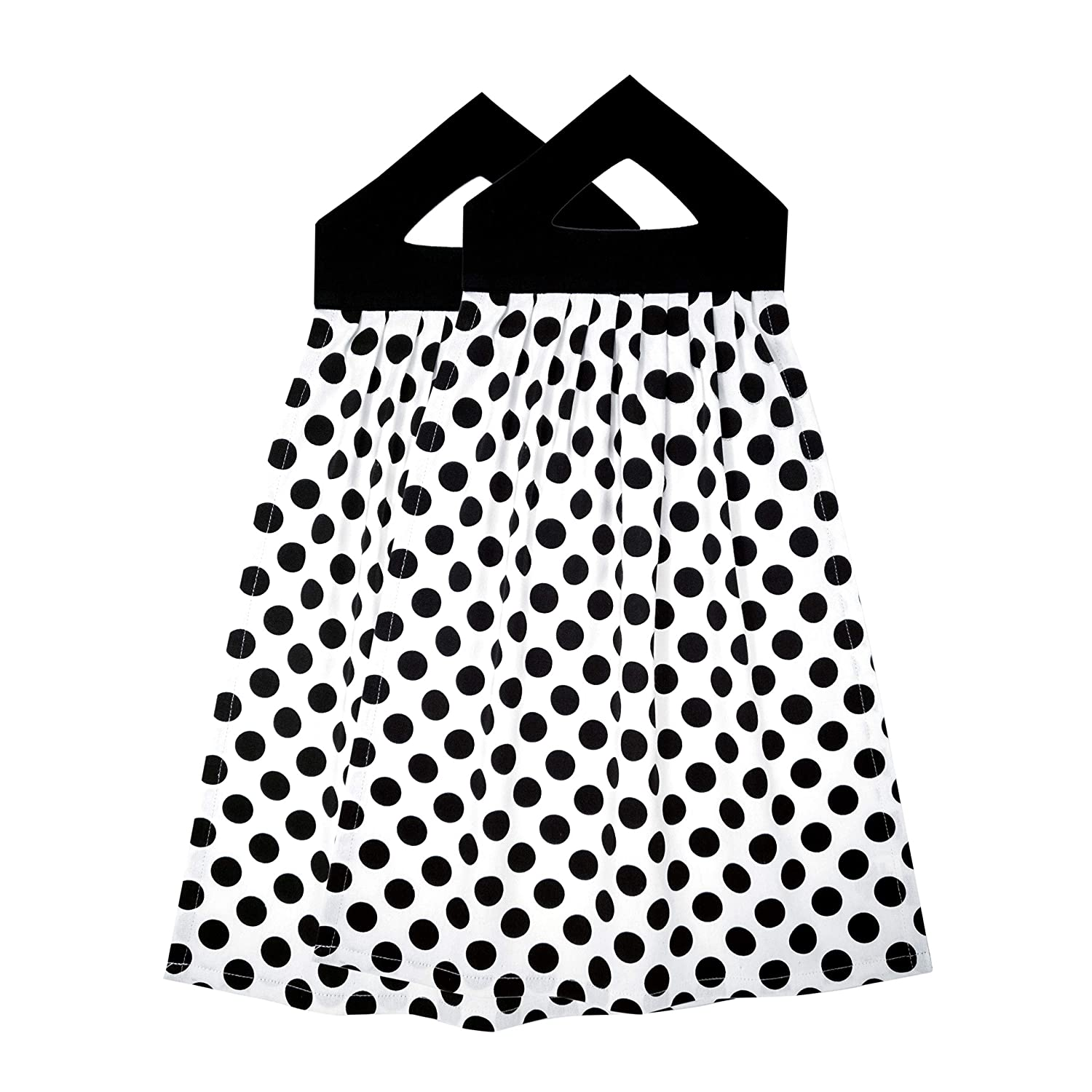 Banyan Central Printed Hanging Kitchen Towel | Black Polka Dots 100% Cotton 16x21 inches | 2-Pieces