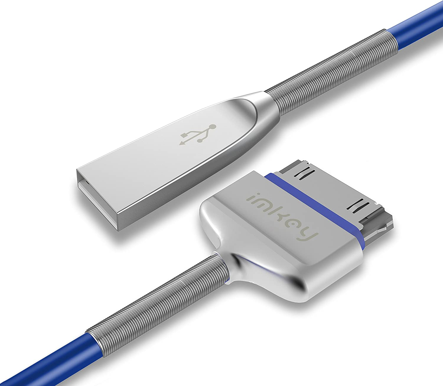 IMKEY 6.5 Feet Zinc-Alloy Spring 30-Pin to USB Sync and Charging Cable Compatible for iPhone4 / 4S, iPad 1/2 / 3, iPod, Blue