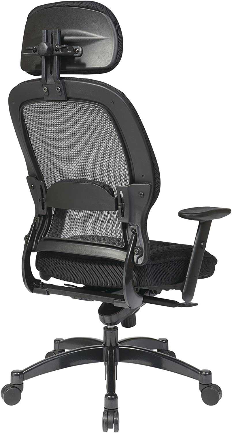 Black SPACE Seating 25004 Space Professional Deluxe Matrex Back Chair with Adjustable Headrest and Mesh Seat