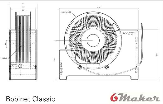 Bobinet Classic Stampante 3D da tavolo trasparente per porta bobina a filamento trasparente gi/à assemblata